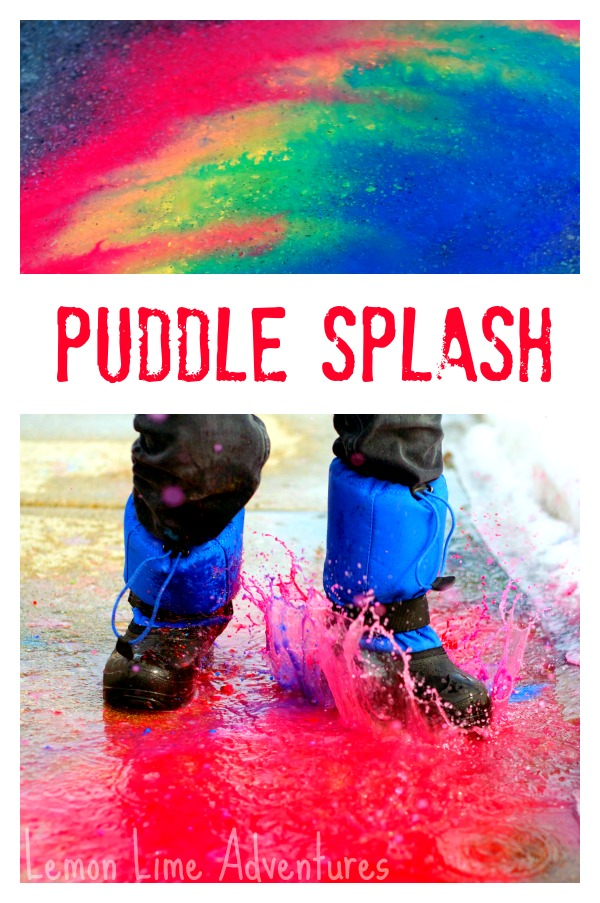 Sidewalk Chalk Art in Puddles
