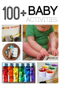 100 Baby Activites including sensory play, busy baskets, fine motor, outdoor, and more play ideas for babies.