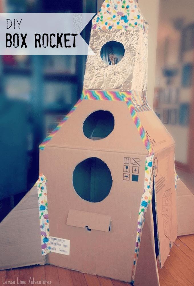 DIY Cardboard Rocket Ship Calm Down Squish Box