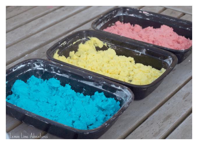 Colored Fizzing Sensory Dough