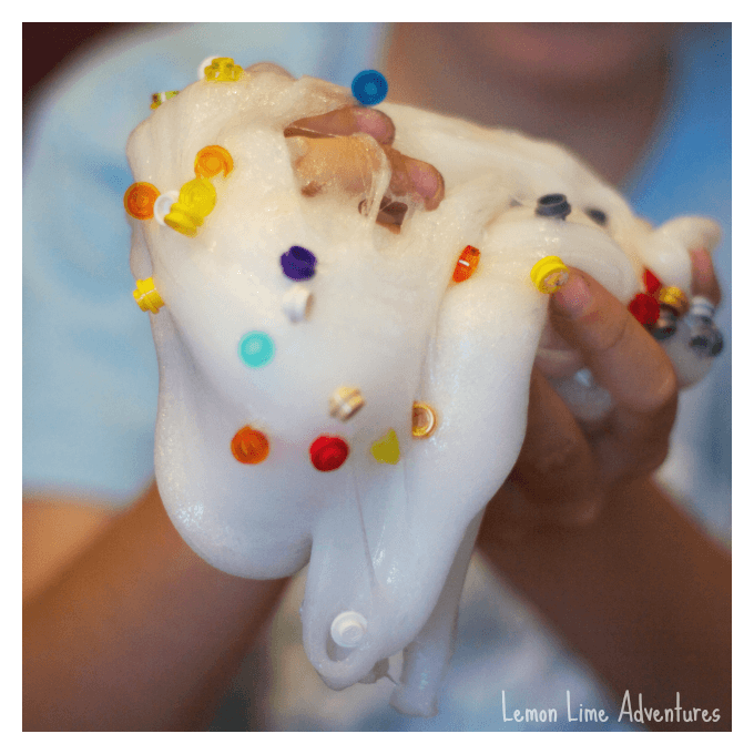 Mixing and Kneading Lego Slime