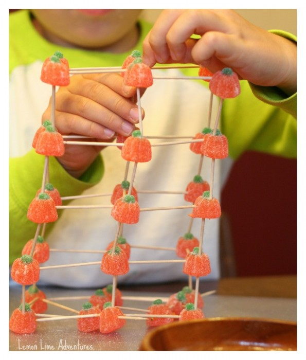 Building towers with candy and toothpicks