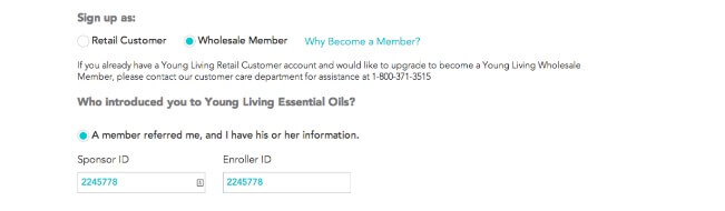 Young Living   Sign Up order