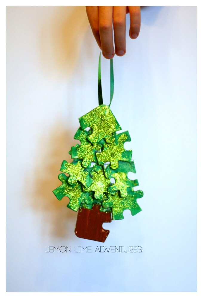 Recycled Ornament from Recycled puzzle pieces