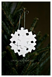The Missing Piece : Recycled Puzzle Ornaments