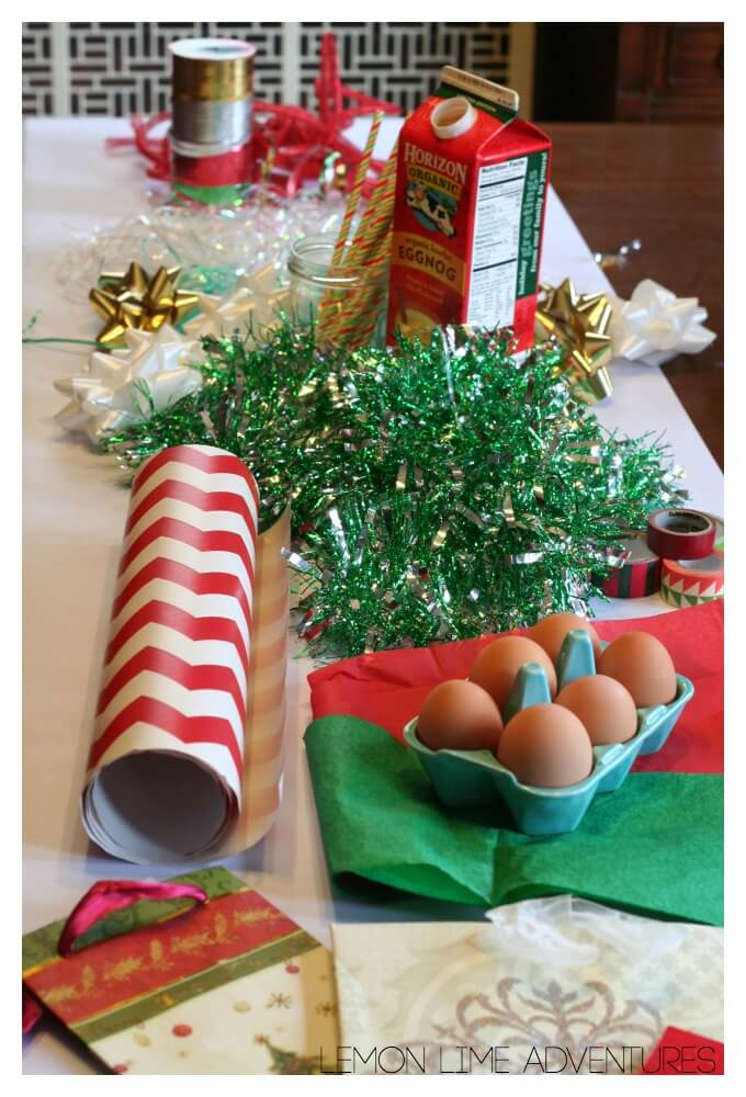 Setup for Egg Drop Challenge with Wrapping Paper