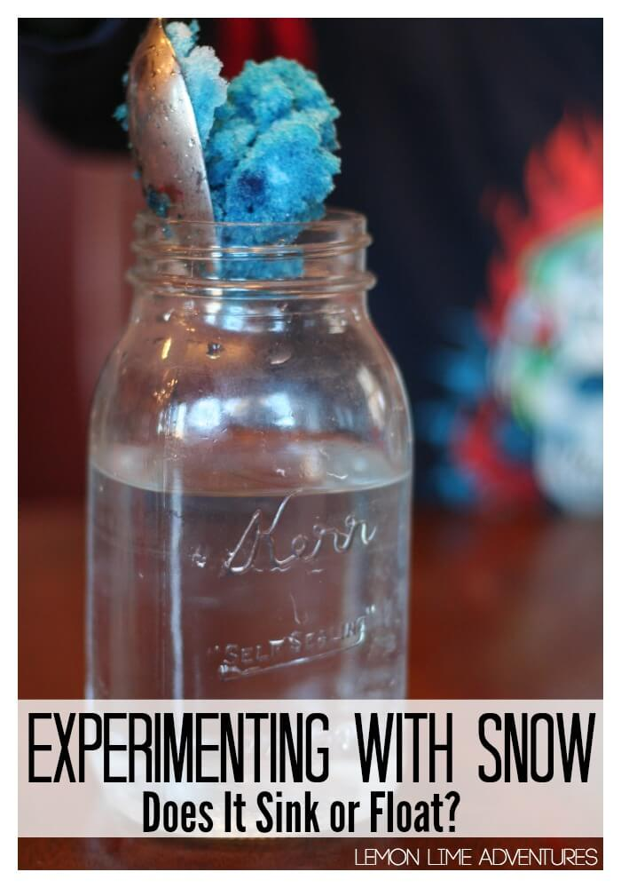 experimenting with snow sinking or floating