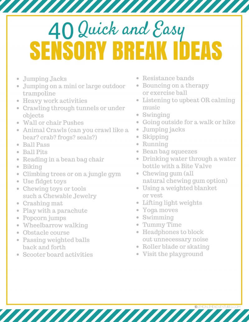 Sensory Break Ideas For Kids