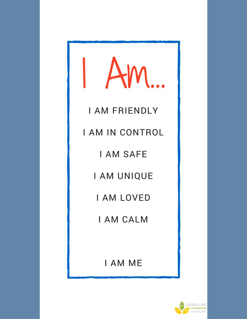 I Am Calm Printable Affirmations to help Kids Calm Down