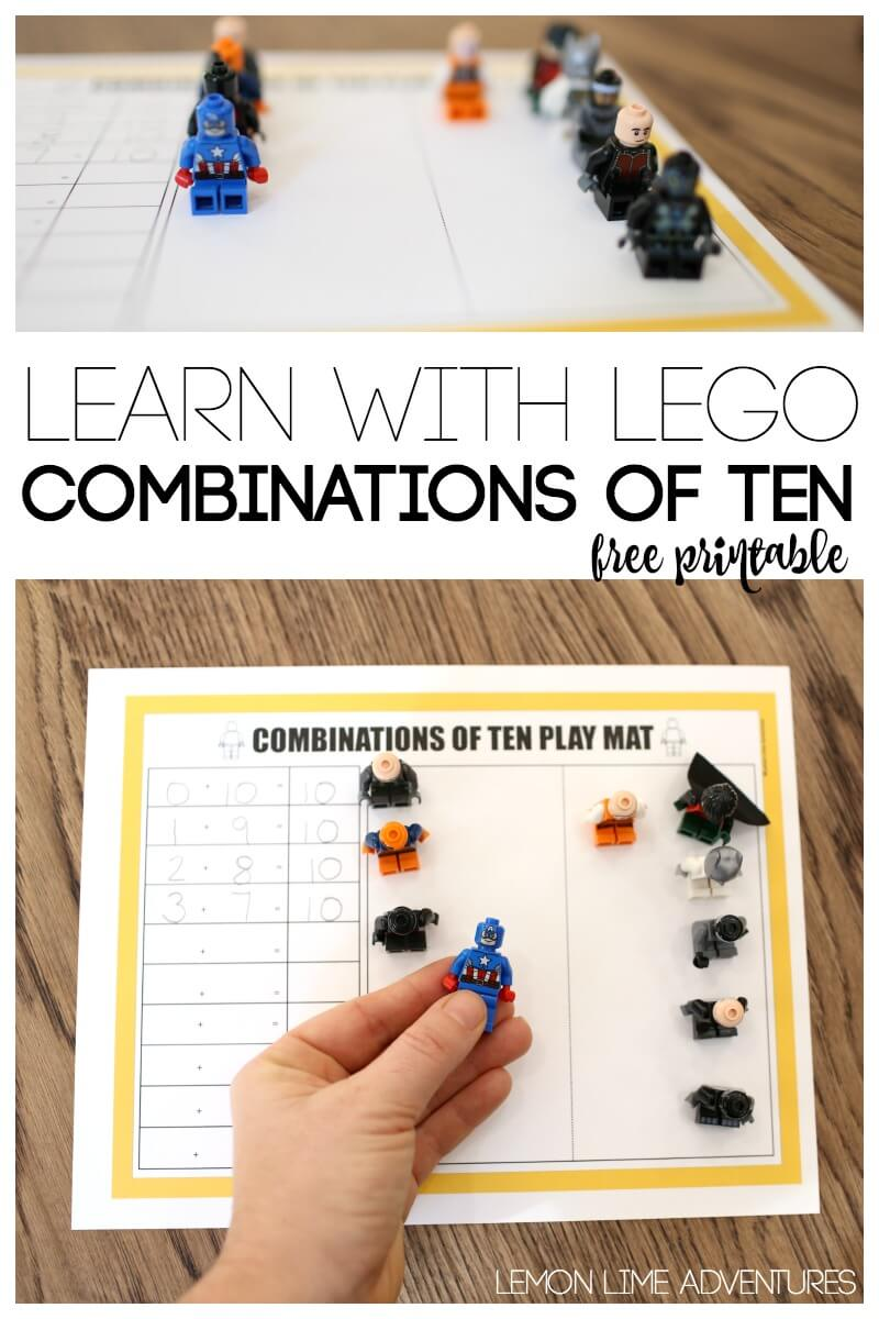 Learn with Lego Combinations of Ten Free Printable Play Mat