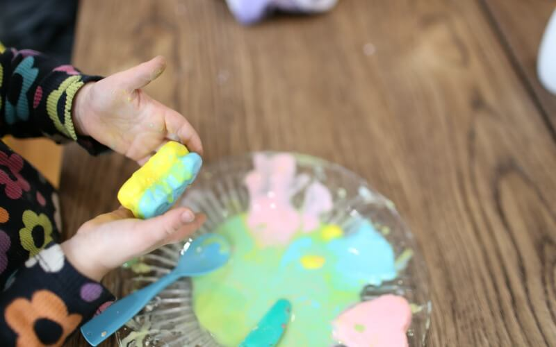 Melting Frozen Oobleck Hearts for Toddler Sensory Play