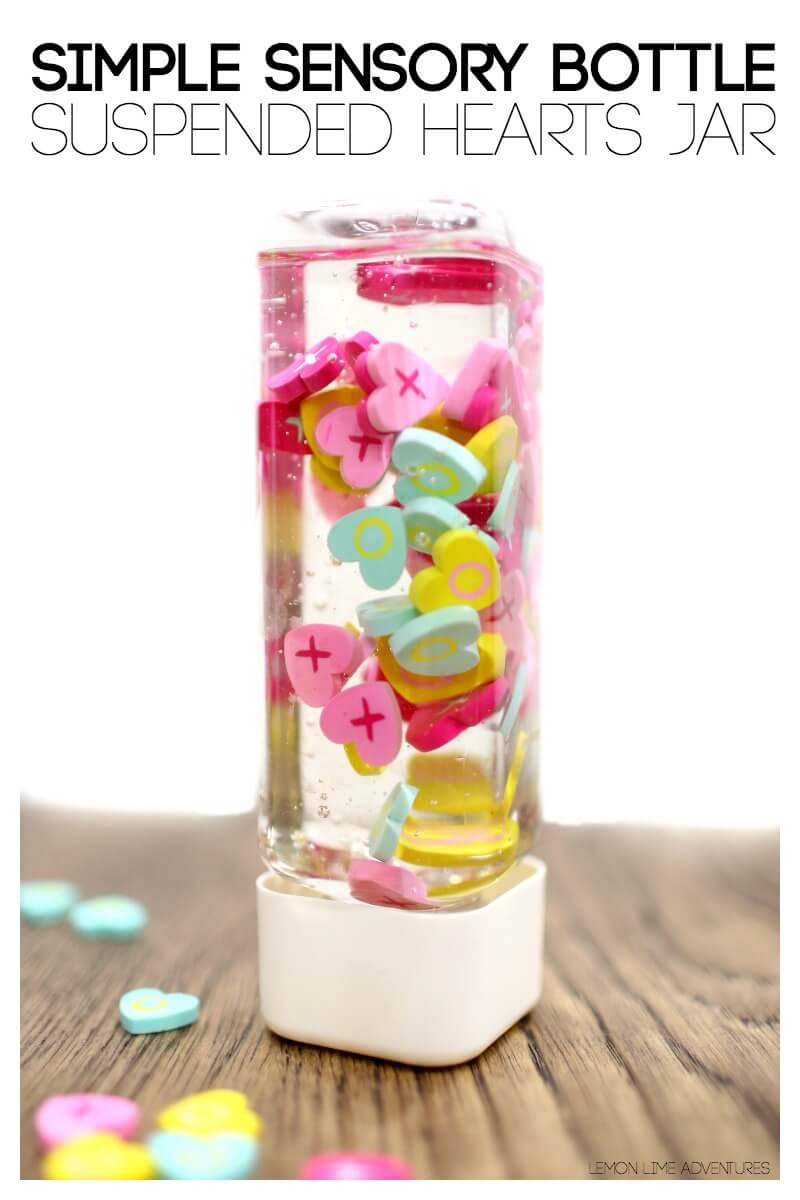 Simple Sensory Bottle Suspended Hearts Discovery Bottle