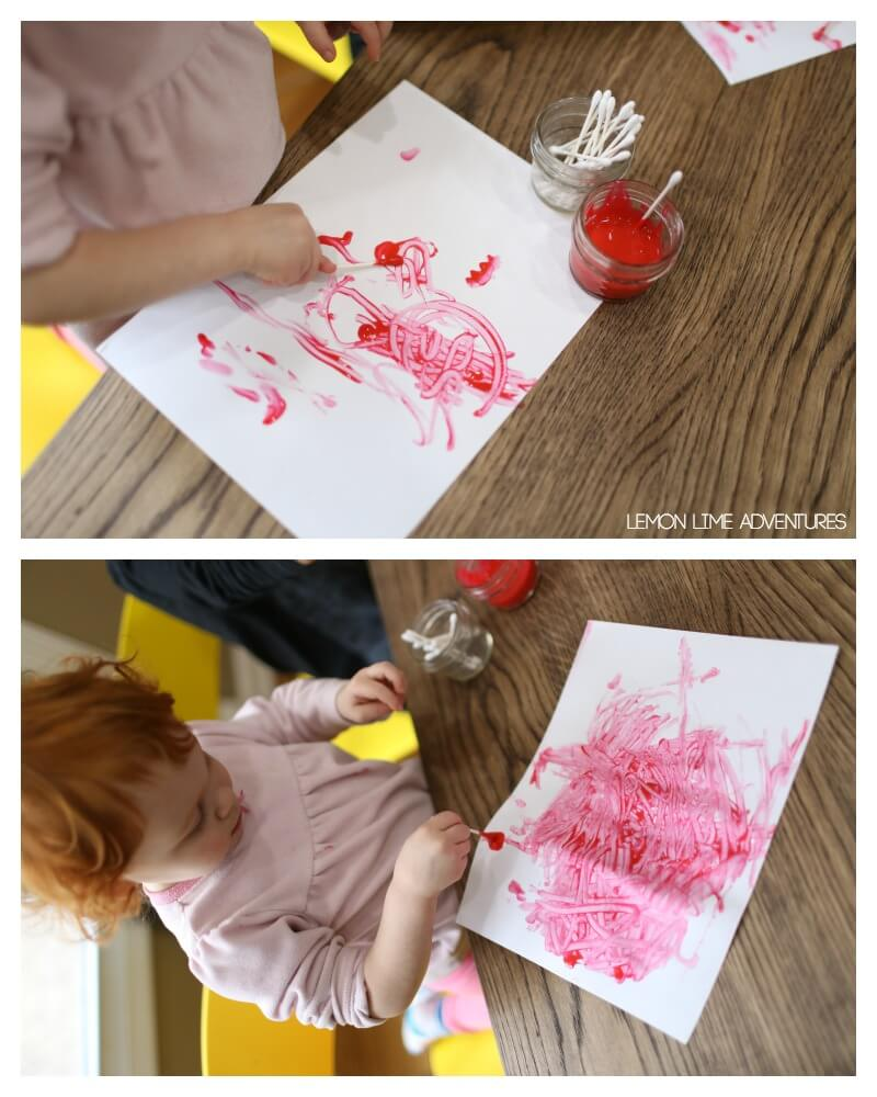 Toddler Painting Activity for Valentines Day