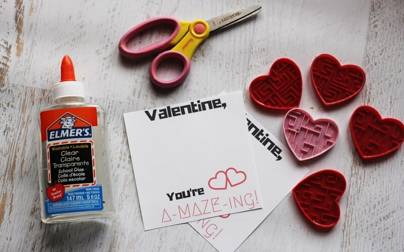 Materials for non-candy valentine printable - you probably already have everything you need on hand, except for the mazes!