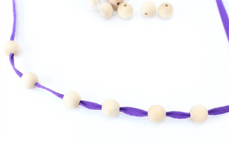 DIY Beaded wooden teething necklace with fabric