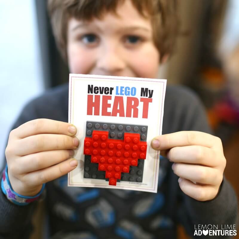 DIY Printable Lego Heart Valentines Day Cards