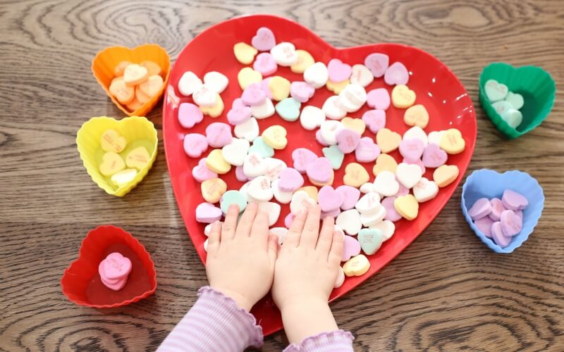 Toddler Sorting Activity with Conversation Hearts