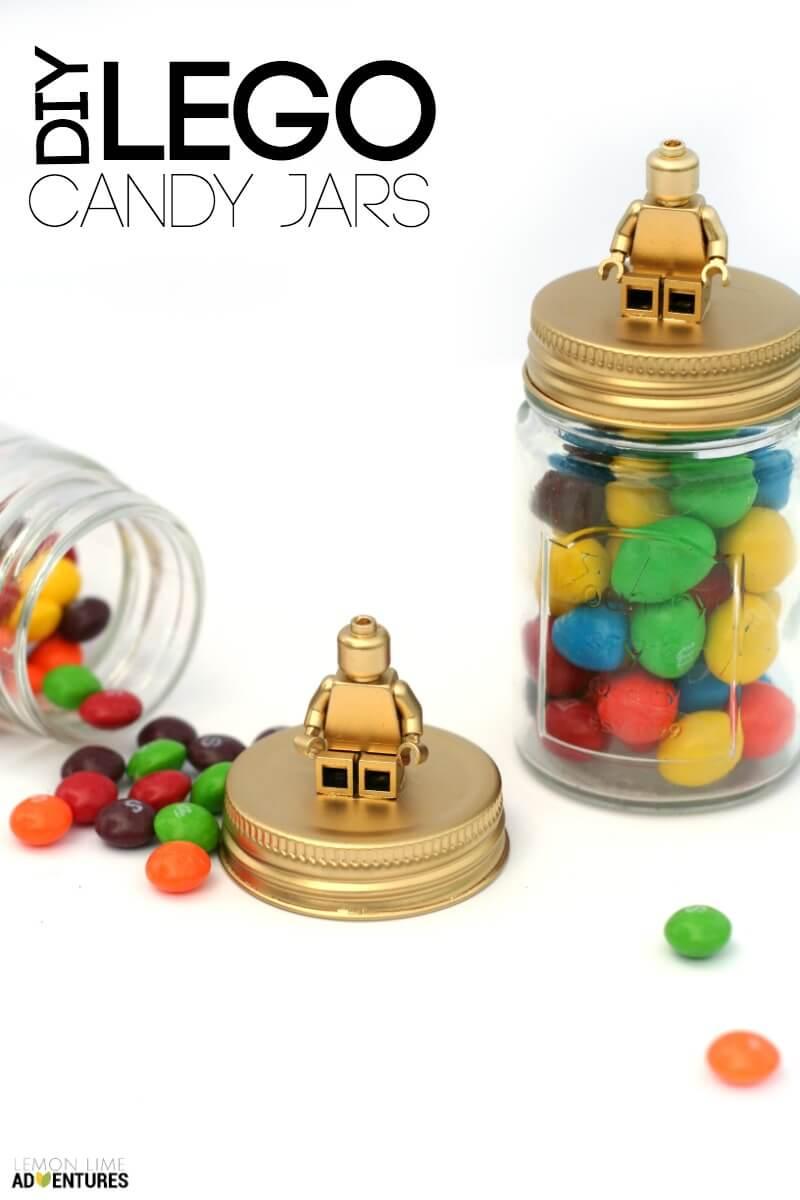 DIY Lego Candy Jars for Storage