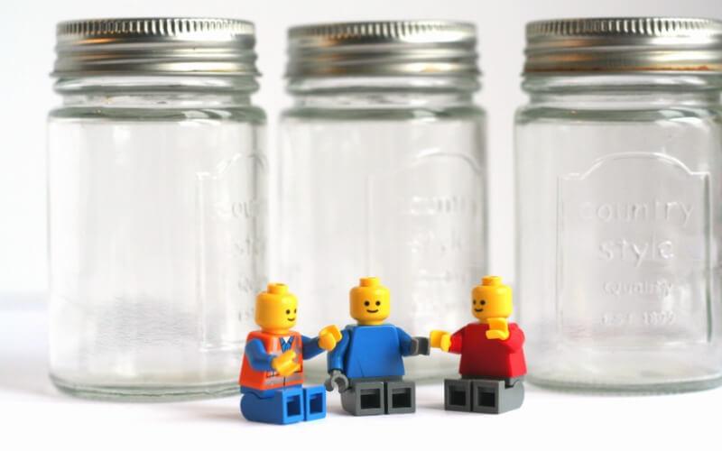 Materials for DIY Lego Jars