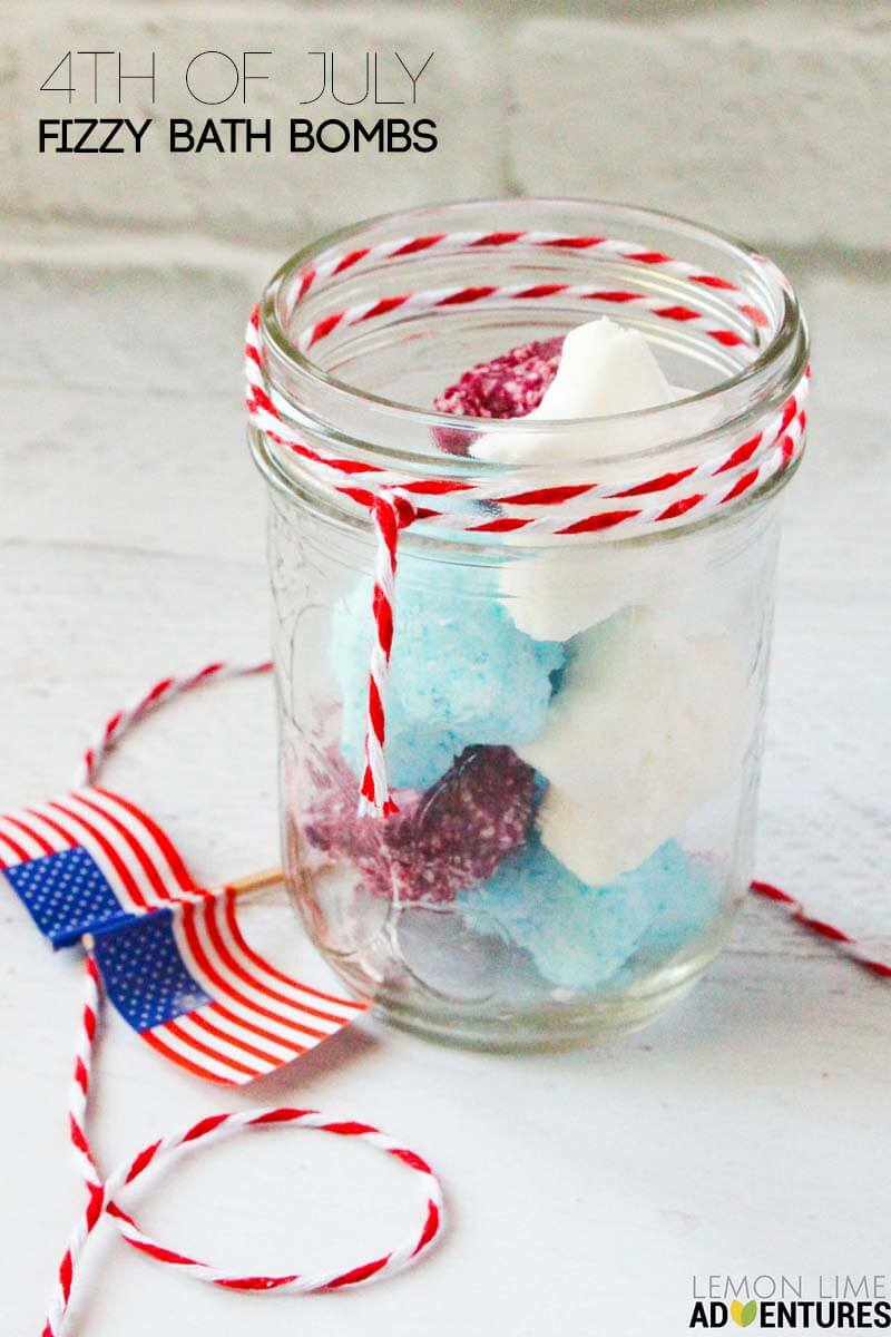 forth of july fizzy bath bombs