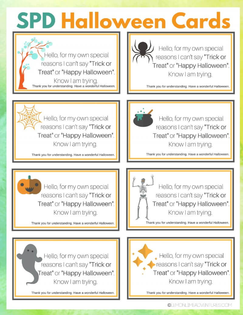 printable spd halloween cards for children that struggle with costumes and greetings - What To Say In A Halloween Card
