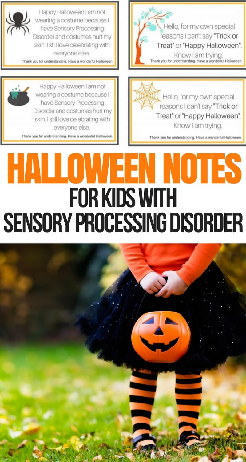 Halloween Notes for Sensory Processing Disorder
