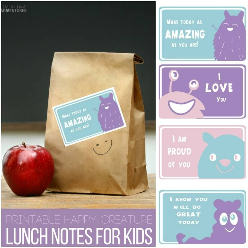 Totally Rad Creepy Creatures Lunch Notes for Kids