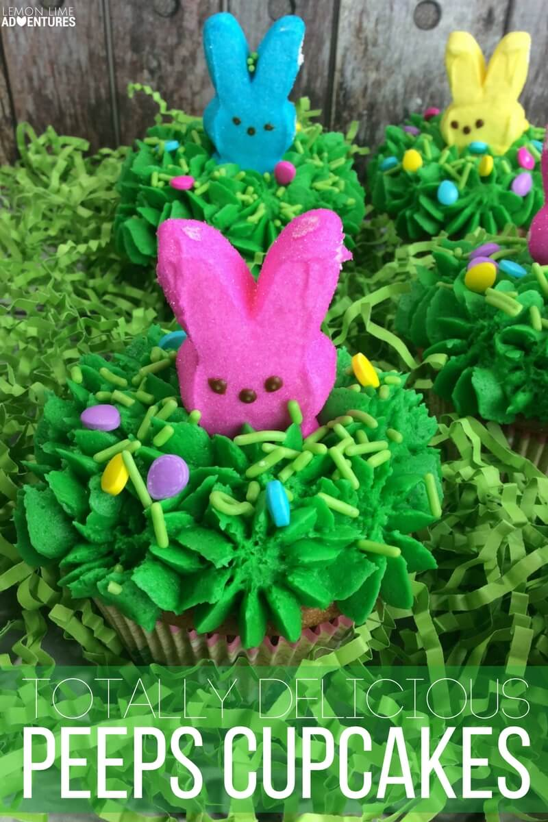 Totally delicious peeps cupcakes for Easter!