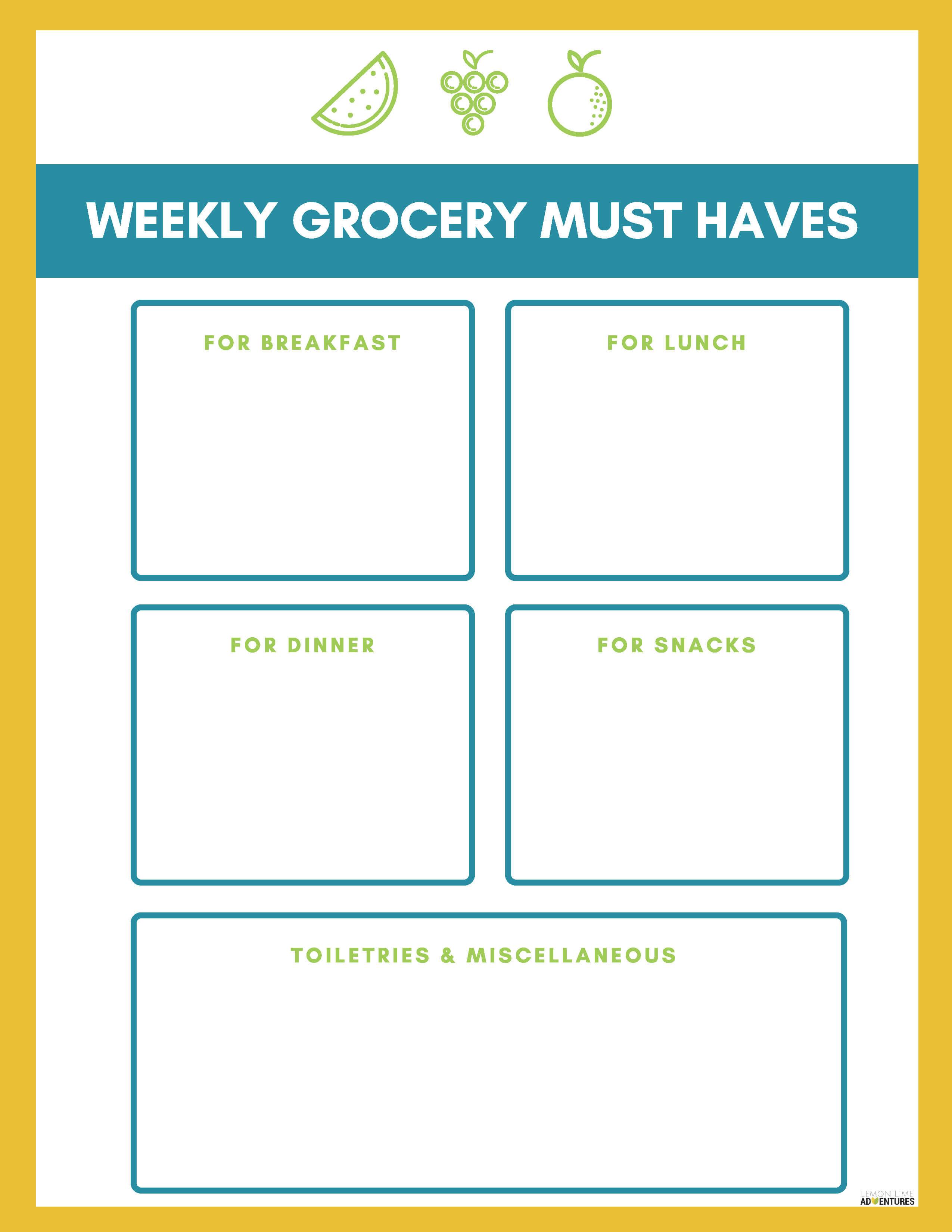 Weekly Grocery Must Haves Printable (1)
