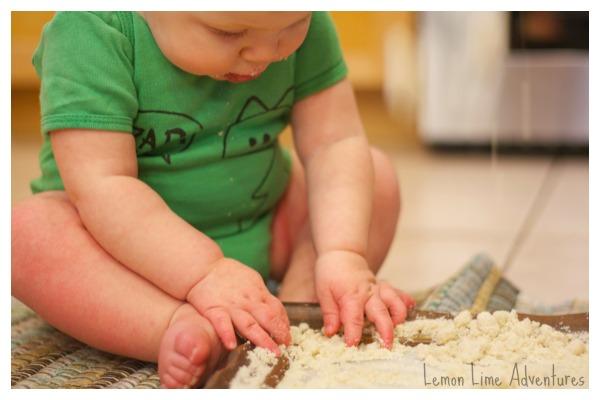 Exploring Baby Safe Cloud Dough