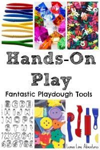hands on play Playdough tools