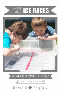 Simple Sensory Play | Hands-Free Ice Cube Race