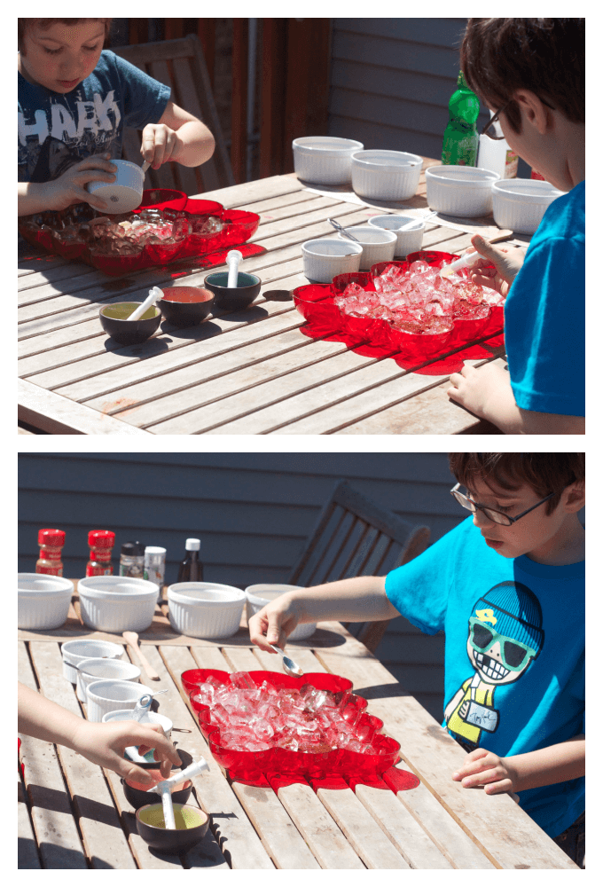 Scented ice lab sensory play