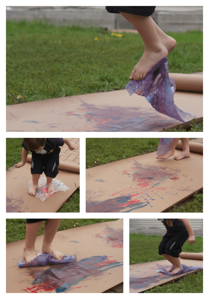 Stomp Painting Recycled Art bubble wrap