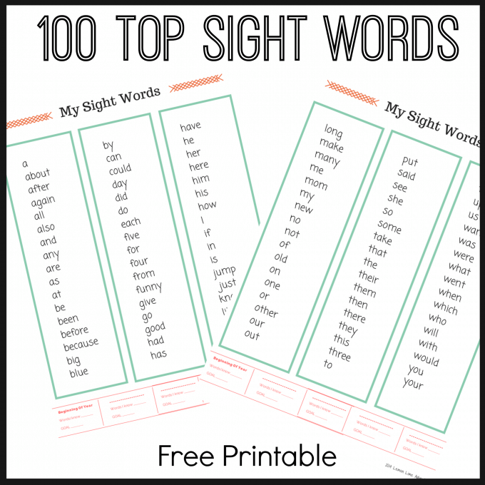 100 sight words free printable