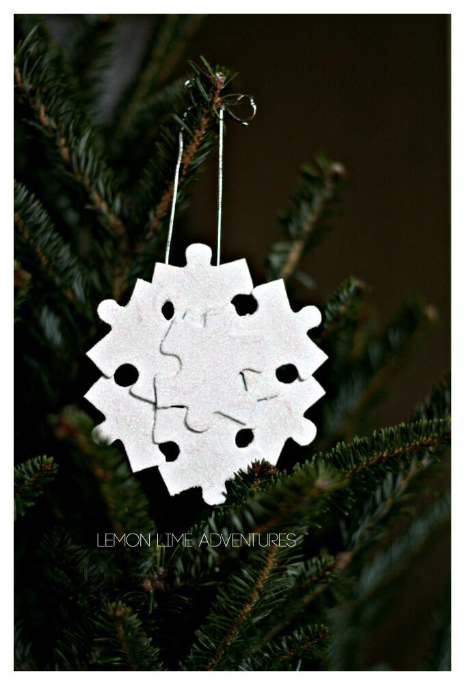 Recycled Snowflake Ornament from Missing Puzzle Pieces