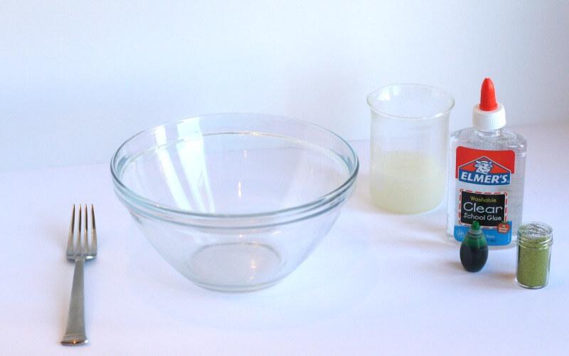 Ingredients for calming glitter slime