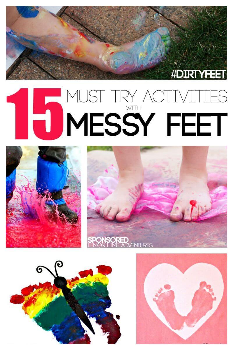 Messy Play ideas using Feet