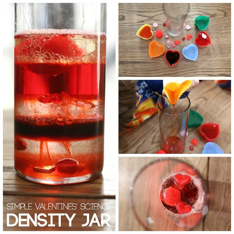 Simple Valentines Day Science Density Jar Experiment