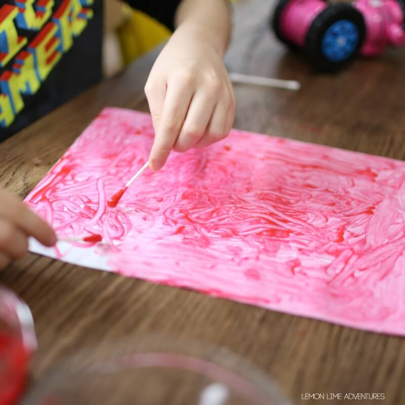 valentines day paiting with qtips for fine motor practice