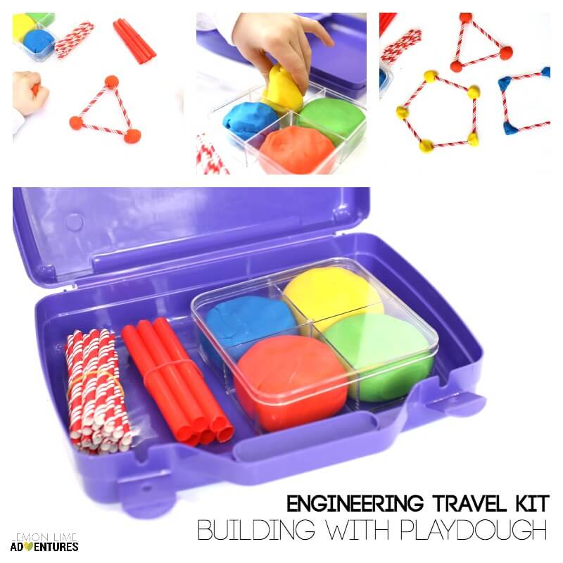 Engineering Travel Kit for Kids with Building Challenge with Playdough