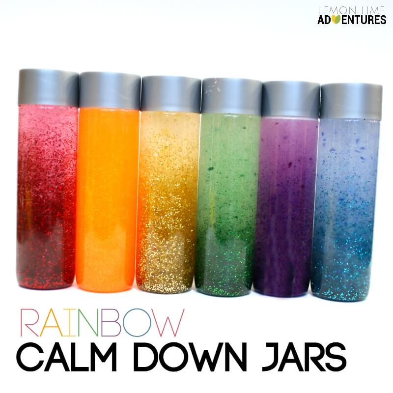 Simple Rainbow Calm Down Jars