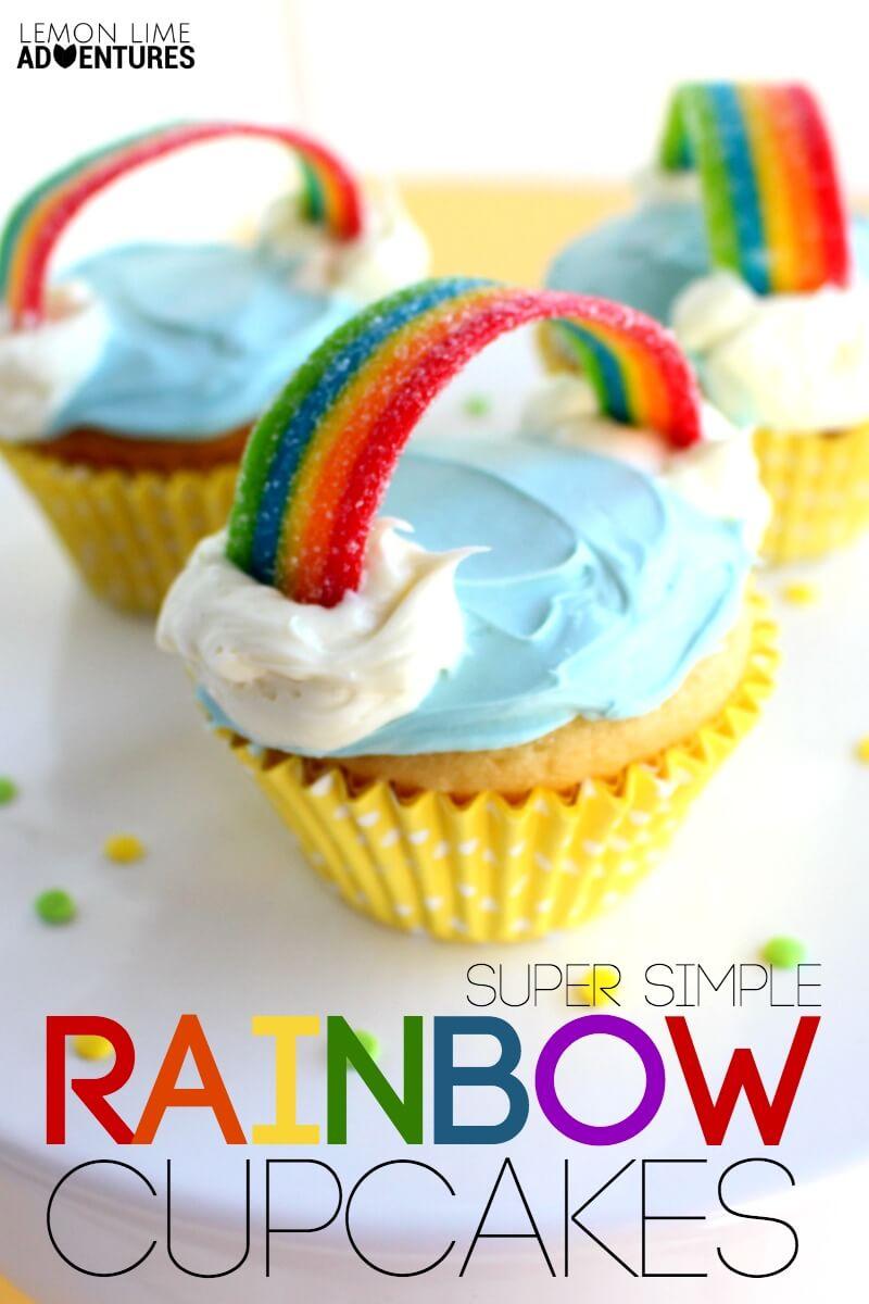 Super Simple Rainbow Cupcakes