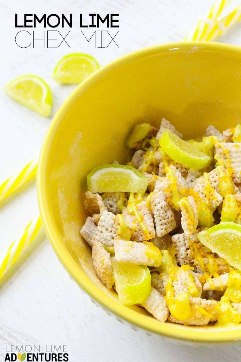 lemon lime chex mix pin