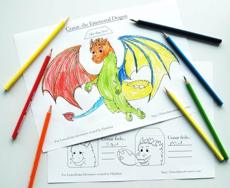 Emotions Printable for Kids Dragon Themed