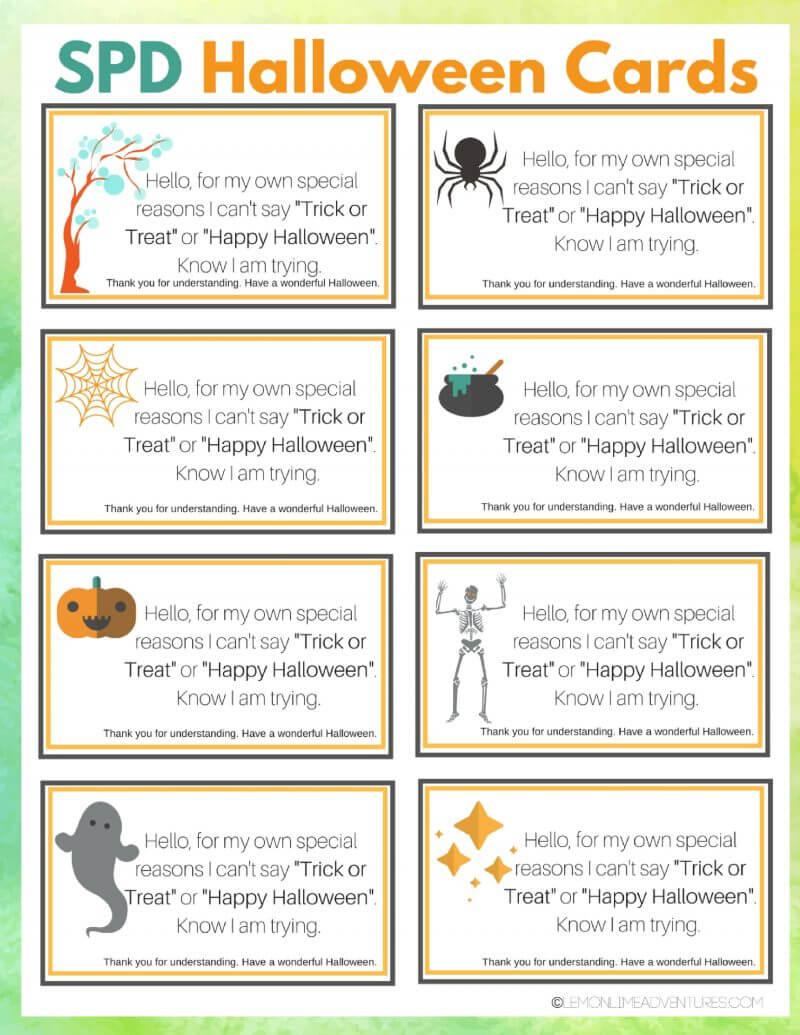 Printable spd halloween cards for children that struggle with spd printable halloween cards kristyandbryce Images