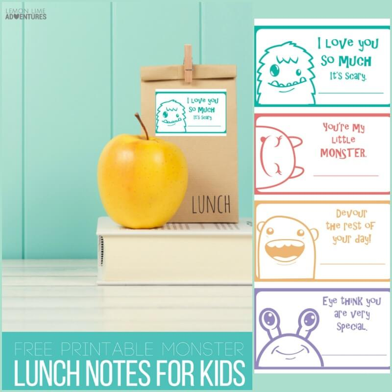 Monster Printable Lunch Notes for Kids