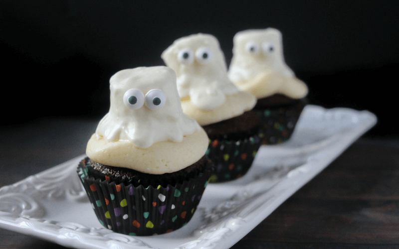 Ghoulish Ghost Cupcakes