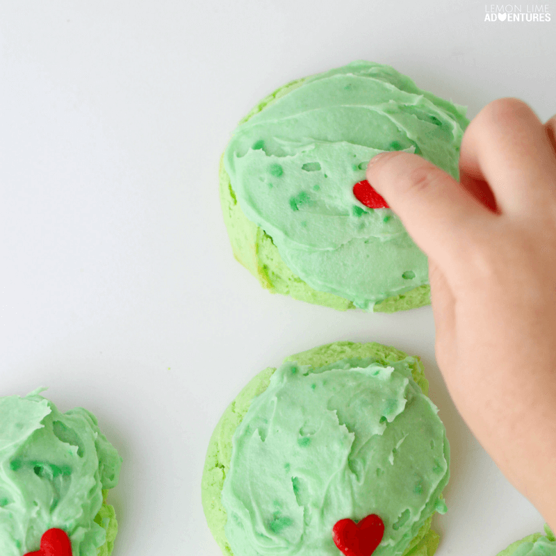 Totally delicious kid-made Grinch cake mix cookies!