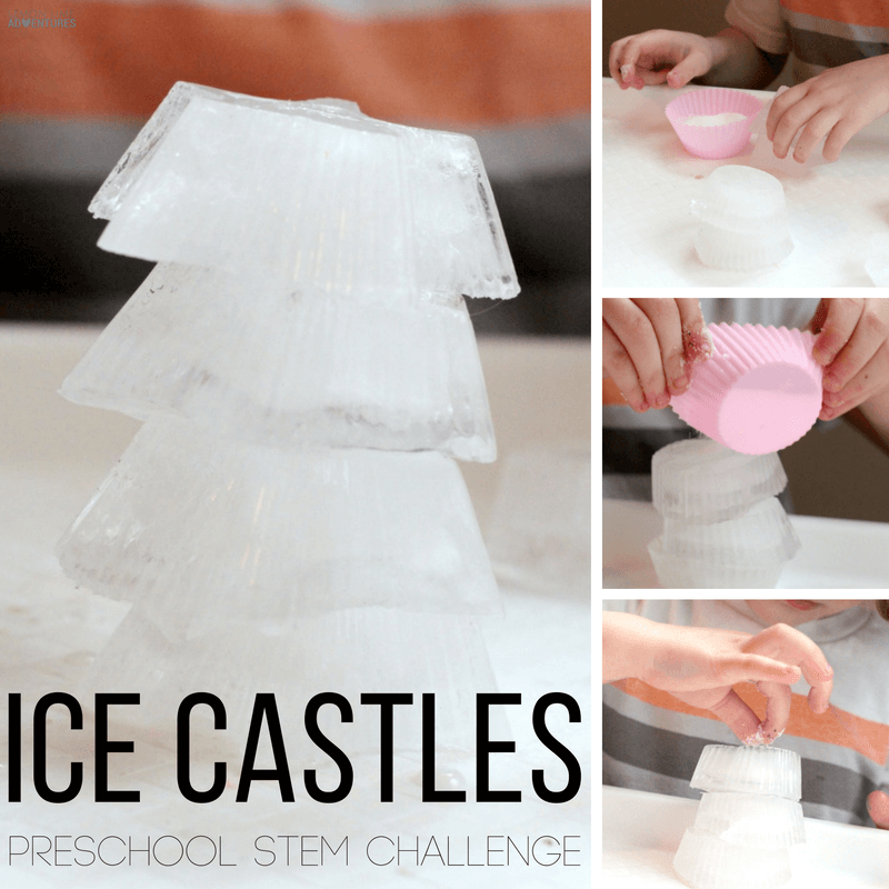 This fun preschool STEM challenge lets preschoolers and toddlers make their very own castles in the ice castle building challenge.